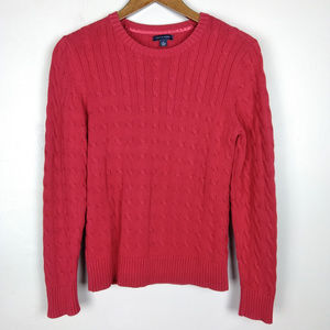Tommy Hilfiger Red Cable Knit Cotton Sweater